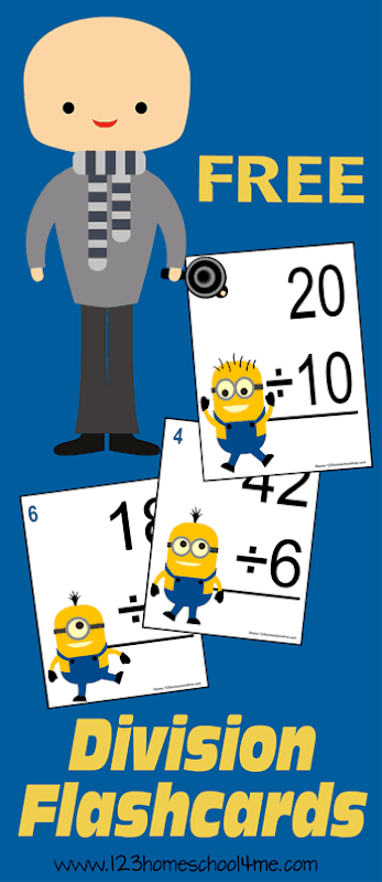 FREE Minion Division Math Flashcards  -these are a FUN way for kids to gain math fluency; great for independent practice, drilling, or games.  #division #mathflashcards