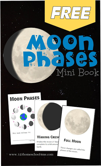 FREE Moon Phases Mini Book - this moon phases printable helps kids not only learn about, but visualize the different moon phases for kids. Great for an astronomy unit, using a telescope, or as a pocket guide to take while camping for a summer activity for kids. #moonphases #solarsystem #homeschooling