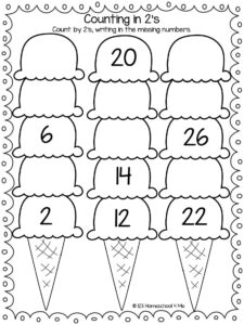 skip counting worksheets for summer