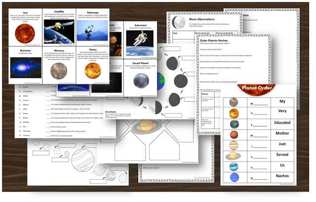 solar system vocabulary cards, moon phases, worksheets, planets, planet order, and more