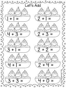 summer addition worksheet for pre-k and kindergarten