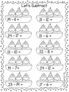 summer subtraction math practice for kindergartners and grade 1 students