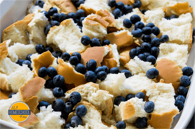 tear apart french bread and toss into buttered casserole dish. Toss together with pint of blueberries