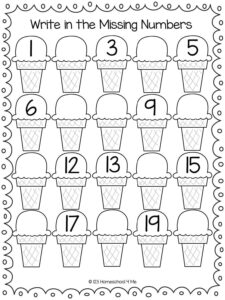 write the missing numbers summer math