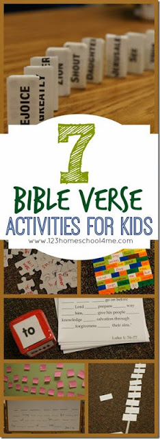 7 Bible Verse Activities for Kids - These are such fun, hands on activities for kids to practice any Bible verse! These work for any kids that are reading (1st-6th grade). Great for Sunday School Lessons!! #bibleverses #memorygames #sundayschool