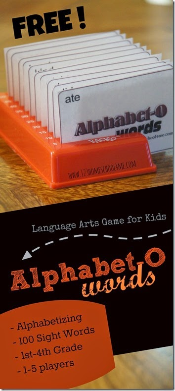 Help kids practice ABC order using Alphabet-O - a free printable, alphabetizing games. This hands-on alphabetizing activity is a  sight words game for first grade, 2nd grade, 3rd grade, and 4th grade students. Simply download pdf file with the alphabetical order games and you are ready to play!