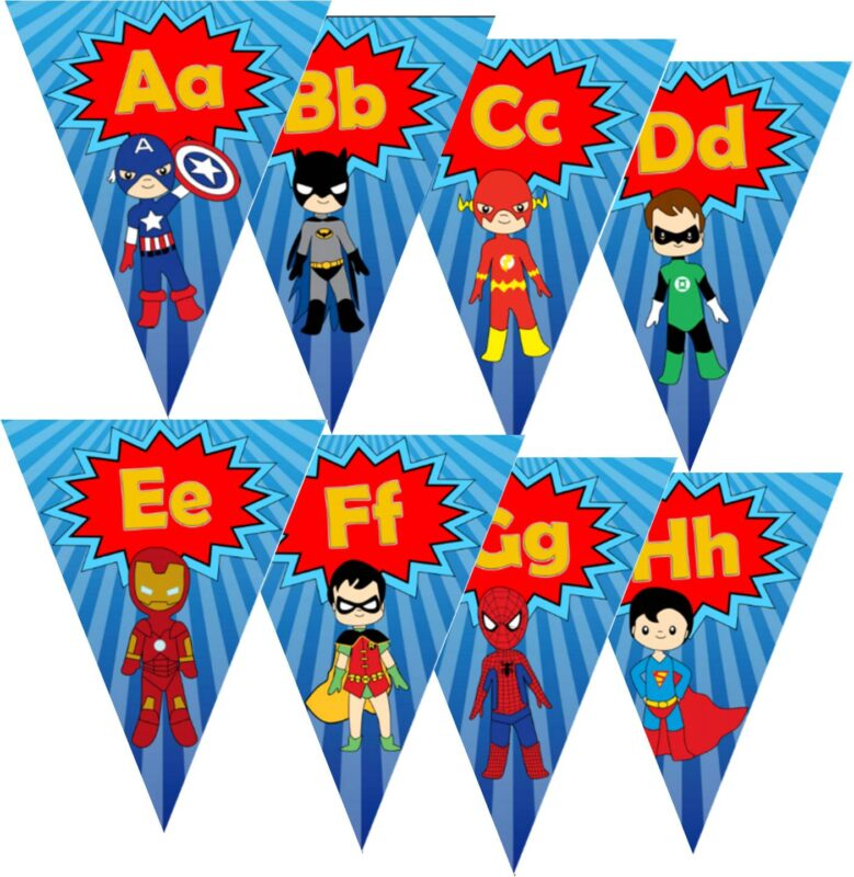 FREE printable Super Hero themed alphabet wall cards for preschool, prek, kindergarten, and first grade