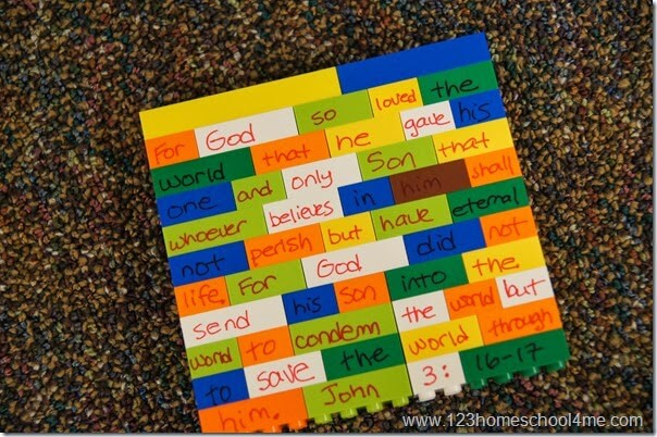 Bible Verse - Lego memory verse review activity for kids