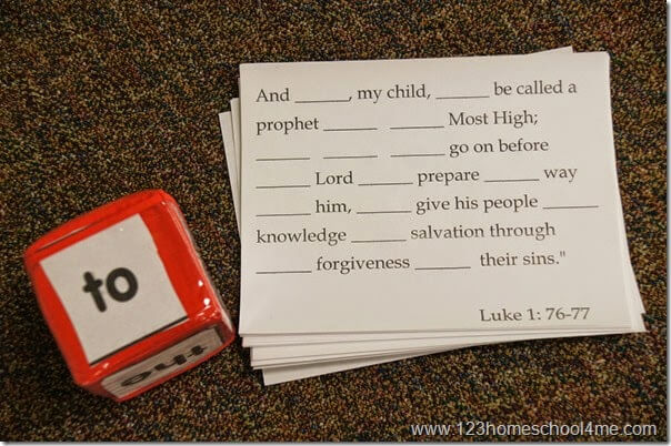 Bible Verse - Roll it memory verse review game