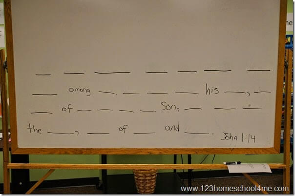 Bible Verse - white board dash memory verse activity for kids in teams