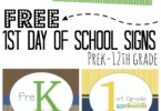 FREE First Day of School Signs for kids from prek-12th grade to help celebrate back to school! #backtoschool #firstdayofschool