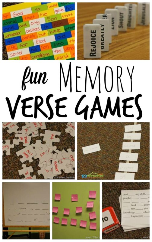 Here are seven really fun memory verse games for kids to practice their bible verses. These work for any verse and are perfect for Sunday School Lessons for kids of any age that can read. Use these engaging, hands-on bible verse games with kindergarten, first grade, 2nd grade, 3rd grade, 4th grade, 5th grade, and 6th grade students.