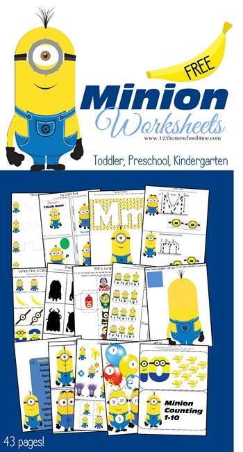 Kid are going to have fun practicing their letters, numbers, adding, sight words, and more with these super cute, free Minion Worksheets for toddler, preschool, pre-k, kindergarten, and first grade students. Children will practice a variety of math and literacy skills while having fun with silly yellow minion friends using these minion printables. Simply download pdf file with minions worksheets and you are to make learning fun with themed worksheets of your child's favorite cartoon character from the Despicable Me movies!