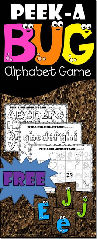 Kids will have fun practicing identifying upper and lowercase alphabet letters and identifying beginning sounds with these Bug themed alphabet games.  This 4-in-1 abc preschool kids tracing & phonics learning game pack has a fun spring bug theme perfect for making learning engaging for toddler, preschool, pre-k, and kindergarten age students. Whether you are learning capital letters, lowercase letters, alphabet matching, or want to play a beginning sounds game, this is a fun way to learn. Simply download pdf file with alphabet printables and you are ready to GO!