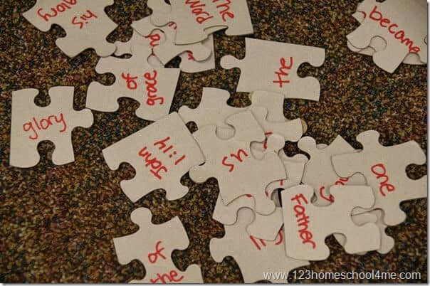 Puzzle Review Game for learning Bible Verses