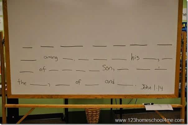 White Board Dash Bible Memory Verse Practice