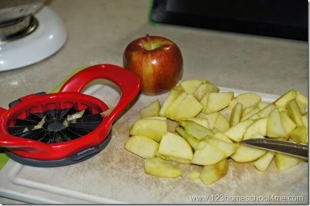 add 4 peeled, sliced, and chopped apples