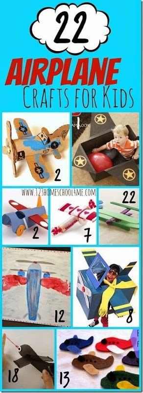 22 Airplane Crafts for Kids - So many super cute plane crafts for toddler, preschool, kindergarten and elementary age kids. Perfect for letter a, before a family vacation, and more. #airplanecrafts #craftsforkids #preschool