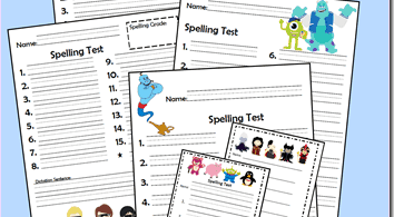 FREE Disney Spelling Tests