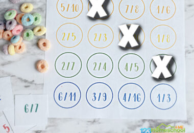 Help kids practice fractions with this fun, easy-to-set-up fraction game! This fraction connect four is a fun way for 3rd grade and 4th graders to learn fractions. Simply print the fraction games and you are ready to play and learn.