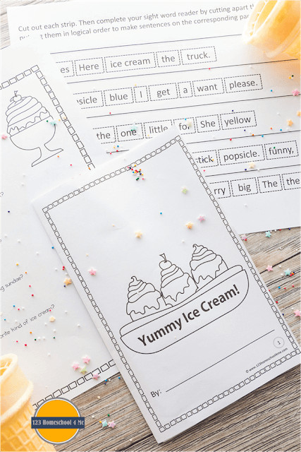 Kids are going to love practicing sight words with thisice cream worksheets! Children will simply cut and paste ice cream printables to make sentences. Then kindergarten, first grade and 2nd graders will color in the free ice cream printables. Finally children will read the sightw word readers and answer the questions on the summer worksheets at the end to work on reading comprehension. Simply download pdf file with Ice Cream Printables and you are ready to play and learn with thissummer activity for kids!