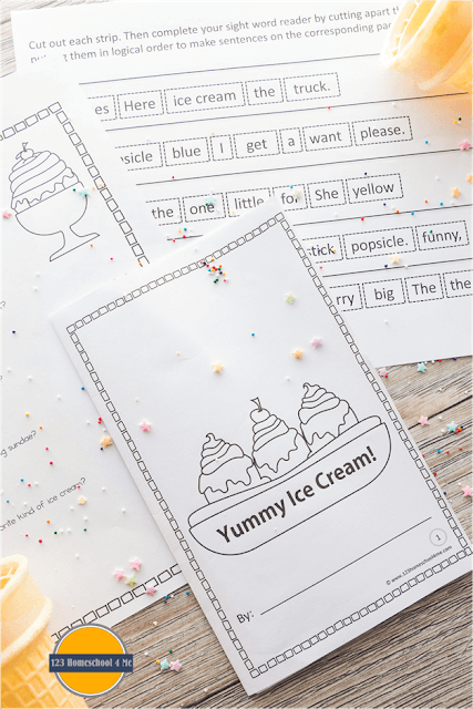 FREE Ice Cream Emergent Reader - LOW PREP, just print in black and white. Students will color pictures and then cut and paste sentences into pages to make their very own Sight Word Readers #sightwords #emergentreaders #kindergarten