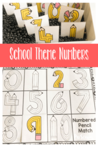 back to school, pencil number matching activity