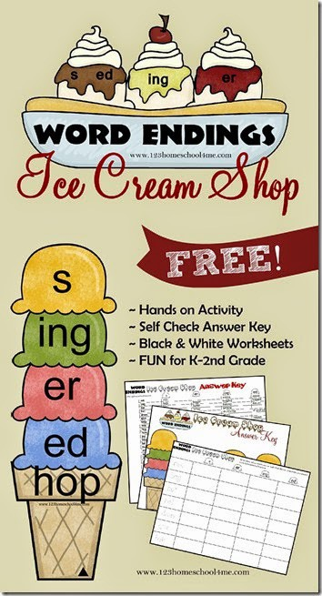 FREE Suffixes Ice Cream Shop - What a fun, free printable educational game for kids working on word endings - s, er, ing, ed. This is a fun hands on activity for Kindergarten, 1st grade, and 2nd grade kids in homeschool, after school, or classrooms. #suffix #wordendings #learningactivities