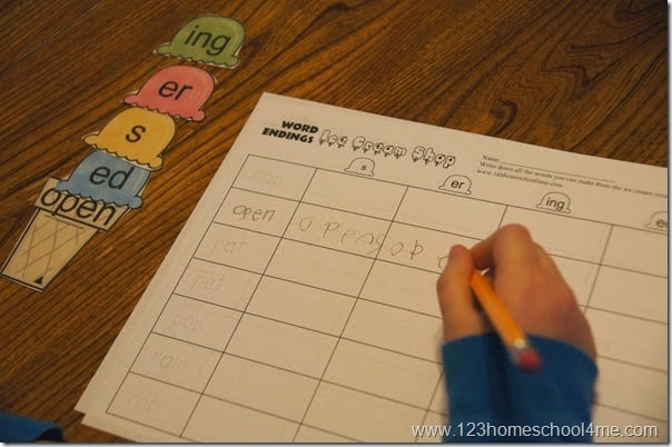 FREE suffixes worksheets to make practicing word endings fun with an ice cream theme