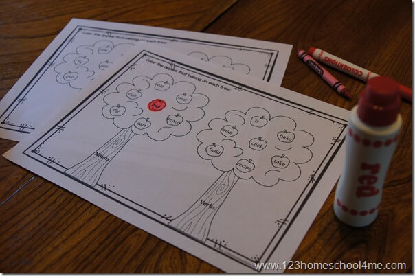 noun verb worksheets using bingo markers