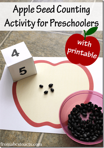 Apple Seed Counting Activity for Preschoolers with free printable - what a fun way to practice numbers with this fall activity for kids