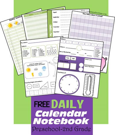 picture relating to Free Preschool Calendar Printables named No cost Each day Calendar Laptop 123 Homeschool 4 Me
