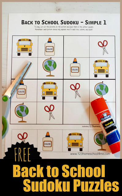 FREE Back to School Sudoku Puzzles - this free printable back to school game is a fun way for kids to use their brains, think logically, and have fun with math. There are several choices for kindergarten, first grade, 2nd grade, 3rd grade, and 4th grade kids #backtoschool #backtohomeschool #backtoschoolgames