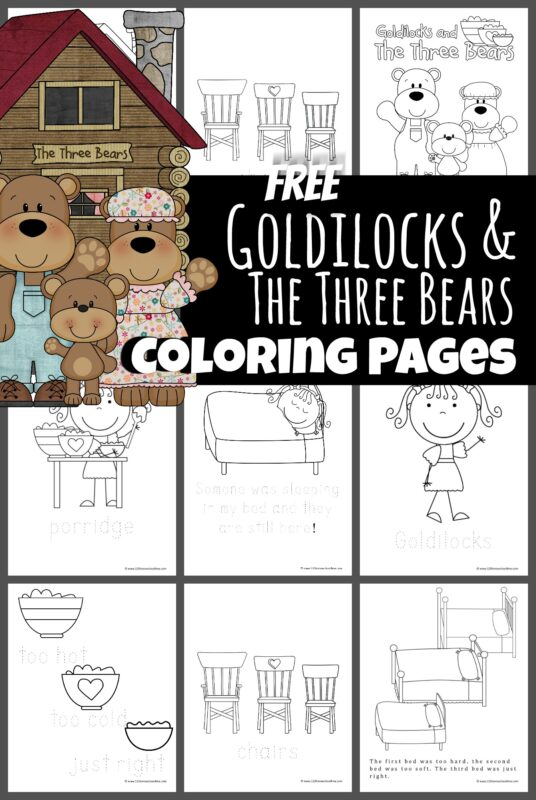 Fairy Tale stories are lots of fun to read with your toddler, preschool, pre k, kindergarten, and first grade student. Your child will have fun remember the story of Goldilocks and the 3 Bears with these free printable Goldilocks and the Three Bears Coloring Page. Simply print the pdf file with the free coloring sheet and you are ready for a fun literacy preschool activity!