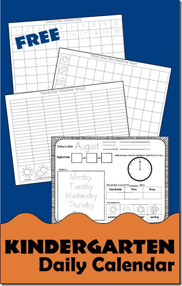FREE Kindergarten Daily Calendar Notebook - help kindergartners learn about days of the week, telling time, place value, weather, graphing, and so much more with these printable calendars for daily work #kindergarten #dailycalendar