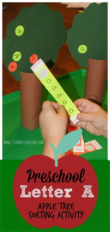 This super cute letter a activity is perfect for preschool, pre-k, and kindergarten age children who are learning to distinguish between uppercase and lowercase letters. In this clever alphabet activity for kids, children will put apples on the correct tree based on if the letters is a capital or small letter. This letter sorting is perfect for your letter a week as part of a letter of the week program.