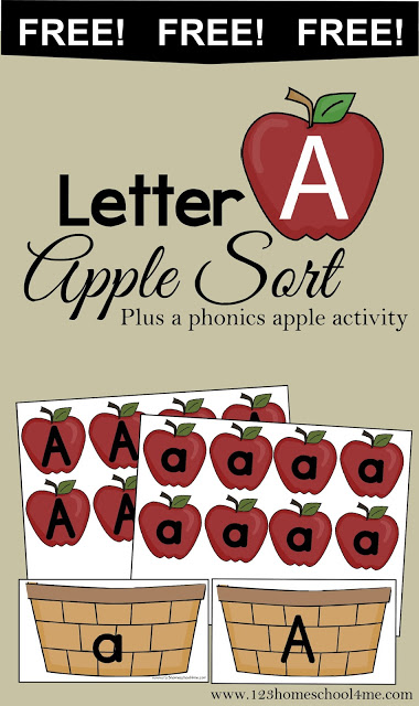 Letter A - Free printable upper and lower case letter a alphabet activity for toddler, preschool, and kindergarten age kids. Perfect for a fall, September theme. #lettera #preschool #appletheme