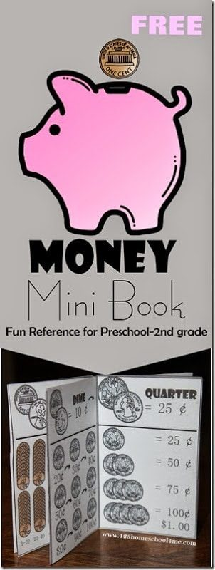`FREE Money Mini Book - a free printable money for kids to help teaching kids in Preschool, Kindergarten, 1st grade, and 2nd grade learn about money #money #moneyprintable #math