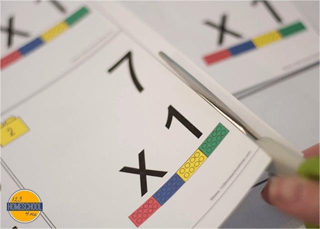 lego brick Multiplication Flash Cards Printable