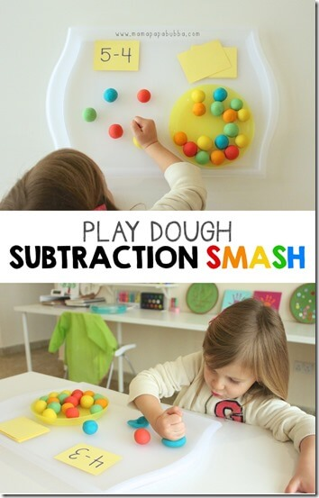Playdough Subtraction Activity for Kids - LOVE this fun and clever idea for kids to practice subtraction! Great math activity for preschool, kindergarten, and 1st grade.