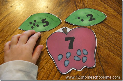 Super cute apple themed math activity to help kids practice Number Bonds. This is such a fun way for kids to practice adding numbers from 1-10