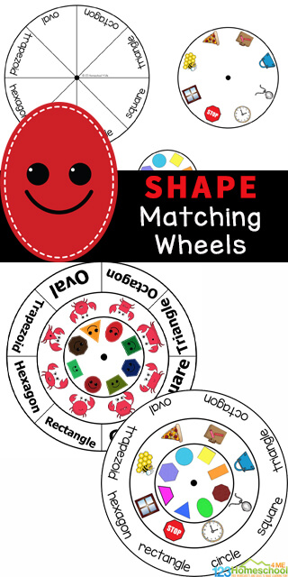 If your kids are learning their shapes you'll love this free shape printable which is an engaging shape matching activity! This shape match is perfect for toddler, preschoolers, pre-k, kindergarten, and first graders who are working on shapes and their names. Students will match shapes and shape words while having fun spinning the shape wheel! Simply download pdf file with shape matching game and you are ready to teach shapes to kids!