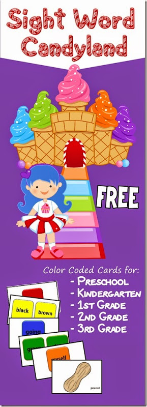 Help kids learn and practice dolch sight words with this fun sight word candyland. Thissight word game has grade specific cards making it perfect for preschool, pre-k, kindergarten, first grade, 2nd grade, and 3rd grade students. So grab your candyland board game and our color coded cards and you are ready to work on improving fluency reading with this printable sight word games. Simply print pdf file with free sight word games and you are ready to play, learn, and READ!