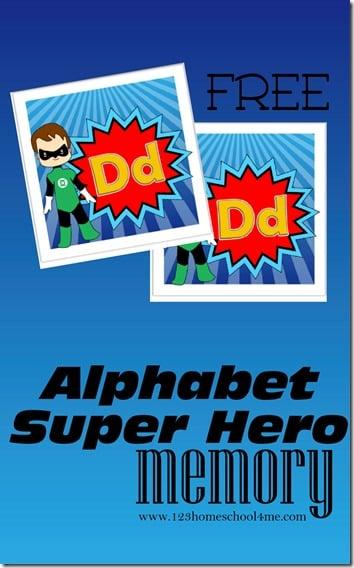 FREE Super Hero Alphabet Memory Game - what a fun way for kids to practice identifying alphabet letters (alphabet, preschool, kindergarten)