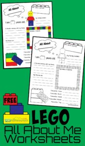 FREE Lego All About Me Printable perfect for first day of school or back to school for preschool, kindergarten, and first grade kids! #backtoschool #allaboutme #preschool