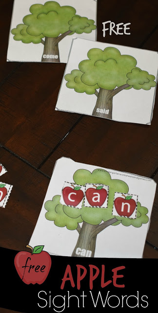 FREE! CVC Apple Activity for Kids - This is such a fun way for Preschool and Kindergarten age kids to practice sight words with a fun, hands on fall activity for kids #sightwords #cvcwords #kindergarten