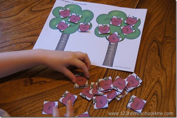 apple activity for 2nd graders sorting nouns and verbs