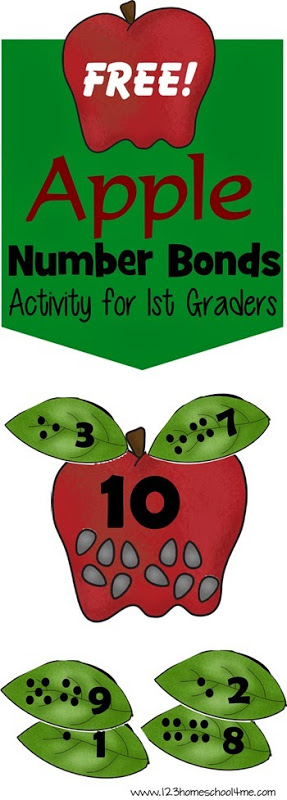 FREE Apple Number Bonds - This is such a fun fall math Activity; great fall, hands on educational activity for kindergarten and 1st grade. #numberbonds #mathactivity #firstgrade