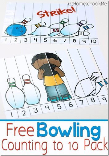 practicing counting to 10! There are four different counting to 10 activities in this pack for toddler, preschool, and pre-k students. Use these free printables to work on learning numbers 1 to 10. Simply download pdf file with preschoolbowling theme for a super fun way to practice counting skills with anumbers 1-10 activities.