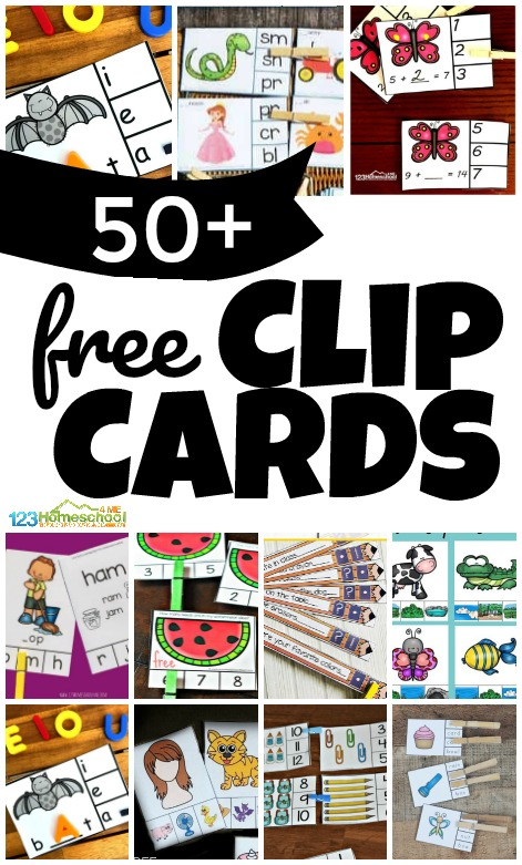 Kids and teachers alike love convenient clip cards! They are a fun, low prep, reusable activity to practice a variety of skills! We have lots of free clip cards to help teach preschool, pre k, kindergarten, first grade, 2nd grade, and 3rd grade students math, reading, phonics, alphabet letters, and so much more. Download the free homeschool activity that you like best!